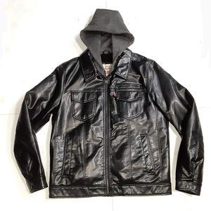 Levi's Faux Leather Trucker Jacket Hoodie Size M